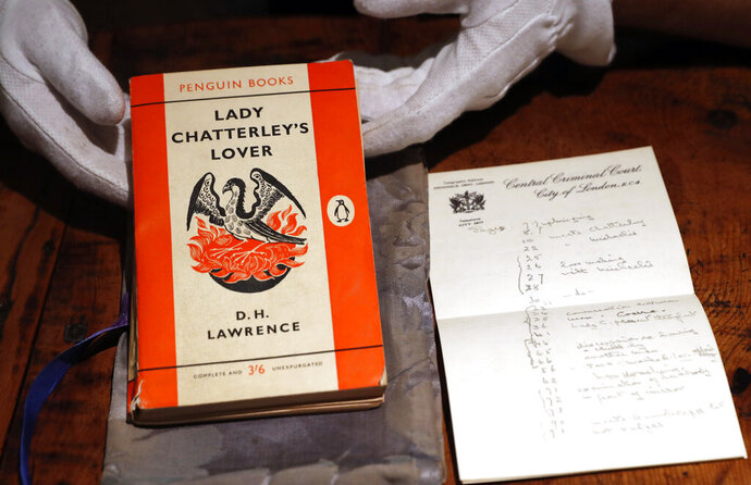 FILE - In this Friday, Oct. 26, 2018 file photo, a copy of D.H Lawrence's book