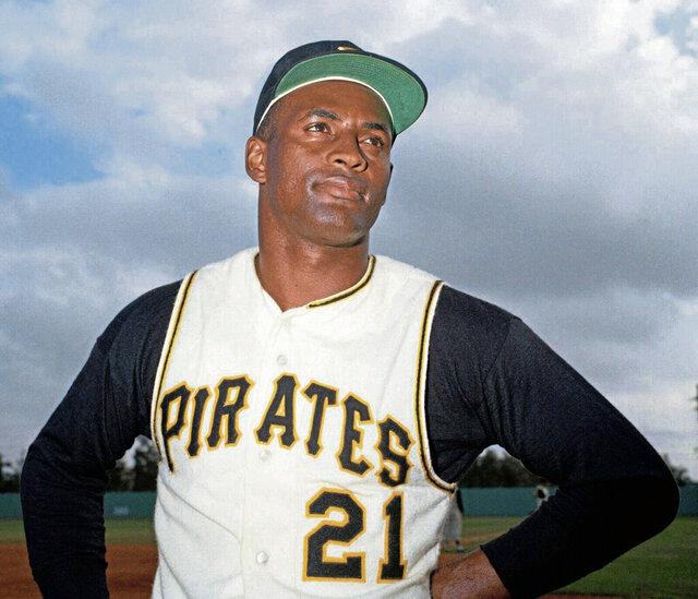File-Pittsburgh Pirates outfielder Roberto Clemente. The Pittsburgh Pirates will honor Hall of Famer Roberto Clemente when they wear No. 21 against the Chicago White Sox on Wednesday, Sept. 9, 2020. The team believes this is an important step into having Clemente's number retired by Major League Baseball(Pittsburgh Tribune-Review via AP, File)/