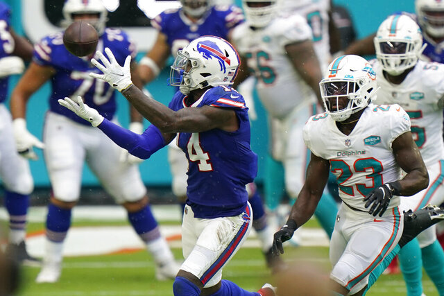 Buffalo Bills wide receiver Stefon Diggs (14) catches a pass ahead of Miami Dolphins cornerback Noah Igbinoghene (23), during the first half of an NFL football game, Sunday, Sept. 20, 2020 in Miami Gardens, Fla. (AP Photo/Wilfredo Lee)