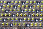 Giant tennis balls are placed on the tribune seats at the Italian Open tennis tournament, in Rome, Friday, Sept. 18, 2020. (Alfredo Falcone/LaPresse via AP)