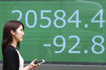 A woman walks by an electronic stock board of a securities firm in Tokyo, Wednesday, Aug. 21, 2019. Asia stock markets followed Wall Street lower Wednesday as investors looked ahead to a speech by the Federal Reserve chairman for signs of possible plans for more U.S. interest rate cuts. (AP Photo/Koji Sasahara)