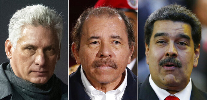 This combination of images shows, from left, Cuba's President Miguel Diaz-Canel, Nicaragua's President Daniel Ortega and Venezuela's President Nicolas Maduro. The Trump administration on Wednesday, April 17, 2019, intensified its crackdown on Cuba, Nicaragua and Venezuela, rolling back Obama administration policy and announcing new restrictions and sanctions against the three countries whose leaders national security adviser John Bolton dubbed the