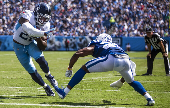 Tennessee Titans running back Derrick Henry (22) carries for a touchdown during Indianapolis' 19-17 win over the Titans on Sunday, September 15, 2019, at Nissan Stadium. (Austin Anthony/Daily News via AP)