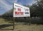 FILE - This Feb. 25, 2016, file photo shows a sign calling attention to the loss of jobs blamed on the lack of water, displayed near Lemoore, Calif. The Trump administration has unveiled a new plan to govern California's water usage that has alarmed environmental groups for its potential impact on endangered species. The plan would give more water to farmers. An analysis by the U.S. Fish and Wildlife Service and the National Marine Fisheries Service says the plan