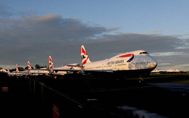 FILE - In this Sunday, Oct. 11, 2020 file photo, retired British Airways Boeing 747-400 parked at Cotsworld Airport in Kemble, England. British Airways said Monday Oct. 12, 2020, that CEO Alex Cruz has been replaced after 4 1/2 years on the job as the COVID-19 pandemic pummels airlines around the world. (AP Photo/Frank Augstein, File)