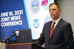 John Kellner, 18th Judicial district attorney, makes a point during a news conference Thursday, June 10, 2021, in Centennial, Colo. Three agencies—the district attorney's office, the Drug Enforcement Administration and Homeland Security Investigations—held the news conference to explain the major grand jury indictments issued in a money-laundering scheme involving the distribution of drugs by major cartels and how the money earned was then laundered through contacts in China. (AP Photo/David Zalubowski)