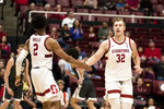 Stanford guard Bryce Wills (2) and forward Lukas Kisunas (32) reacts after a basket was scored against Washington State during the second half of an NCAA college basketball game Saturday, Jan.11, 2020, in Stanford, Calif. (AP Photo/John Hefti)