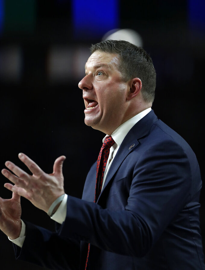 Texas Tech head coach Chris Beard reacts during the second half in the championship of the Final Four NCAA college basketball tournament against Virginia, Monday, April 8, 2019, in Minneapolis. (AP Photo/Jeff Roberson)