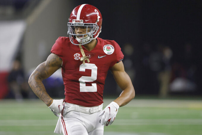 FILE - Alabama defensive back Patrick Surtain II (2) looks on against Notre Dame during the Rose Bowl NCAA college football game in Arlington, Texas, in this Friday, Jan. 1, 2021, file photo. Surtain is expected to be a first round pick in the NFL Draft, April 29-May 1, 2021, in Cleveland.(AP Photo/Ron Jenkins, File)