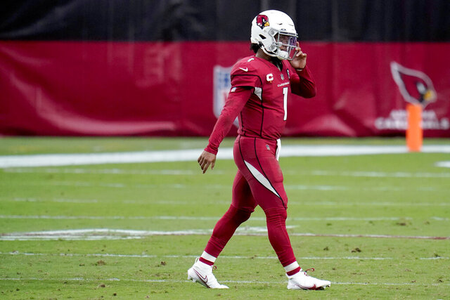 Arizona Cardinals quarterback Kyler Murray (1) walks off the field after throwing an interception during the second half of an NFL football game against the Detroit Lions, Sunday, Sept. 27, 2020, in Glendale, Ariz. (AP Photo/Ross D. Franklin)