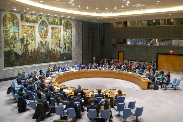 "The UN Security Council holds a meeting on the Middle East, including the Palestinian question, in this Wednesday, Nov. 20, 2019 file photo, at United Nations headquarters. The coronavirus that has claimed nearly 1 million lives has underscored the failure of the United Nations to bring countries together to defeat it. ""We could criticize the U.N. for this — but who are we really talking about, when we blame `the U.N.?'"" Switzerland President Simonetta Sommaruga asked. ""We are in fact talking about ourselves, because the U.N. is its member states. And it is often member states that stand in the way of the U.N.'s work.""(AP Photo/Mary Altaffer, File)"