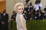 """Julia Garner attends The Metropolitan Museum of Art's Costume Institute benefit gala celebrating the opening of the """"In America: A Lexicon of Fashion"""" exhibition on Monday, Sept. 13, 2021, in New York. (Photo by Evan Agostini/Invision/AP)"""