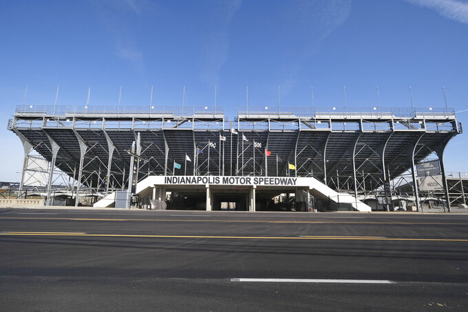 FILE - In this Nov. 4, 2019, file photo, the main gate of Indianapolis Motor Speedway in Indianapolis is shown. It is finally May and acceptable to declare this a crummy year for Roger Penske to have purchased Indianapolis Motor Speedway. (AP Photo/AJ Mast, File)