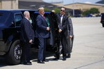 President Donald Trump exits a vehicle before boarding Air Force One for a trip to Wisconsin, Thursday, June 25, 2020, in Andrews Air Force Base, Md. (AP Photo/Evan Vucci)