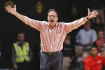 Georgia head coach Tom Crean yells to his players in the second half of an NCAA college basketball game against Vanderbilt Saturday, Feb. 22, 2020, in Nashville, Tenn. (AP Photo/Mark Humphrey)