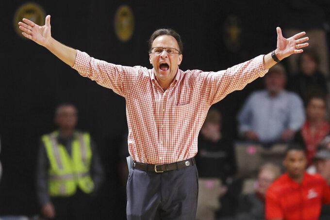 Georgia head coach Tom Crean yells to his players in the second half of an NCAA college basketball game against Vanderbilt Saturday, Feb. 22, 2020, in Nashville, Tenn. (AP Photo/Mark Humphrey)
