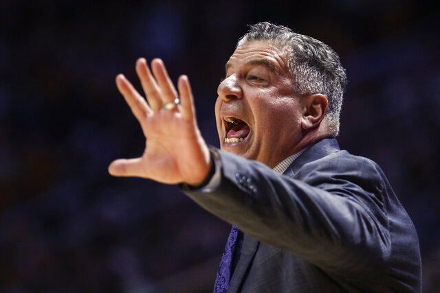Auburn head coach Bruce Pearl yells to his players during an NCAA college basketball game against Tennessee, Saturday, March 7, 2020, in Knoxville, Tenn. (AP Photo/Wade Payne)