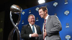 Notre Dame head coach Brian Kelly, left, and Clemson head coach Dabo Swinney share a laugh after the NCAA Cotton Bowl football coaches' news conference in Dallas, Friday, Dec. 28, 2018. Notre Dame is scheduled to play Clemson in the NCAA Cotton Bowl semi-final playoff Saturday. (AP Photo/LM Otero)