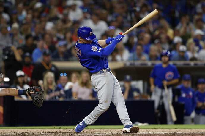 Chicago Cubs' Nico Hoerner hits a two-RBI triple during the fifth inning of a baseball game against the San Diego Padres Monday, Sept. 9, 2019, in San Diego. (AP Photo/Gregory Bull)