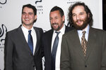 Benny Safdie, left, Adam Sandler and Josh Safdie attend the New York Film Critics Circle Awards at TAO Downtown on Tuesday, Jan. 7, 2020, in New York. (Photo by Charles Sykes/Invision/AP)