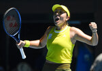 United States' Jessica Pegula celebrates after defeating Ukraine's Elina Svitolina in their fourth round match at the Australian Open tennis championship in Melbourne, Australia, Monday, Feb. 15, 2021.(AP Photo/Andy Brownbill)