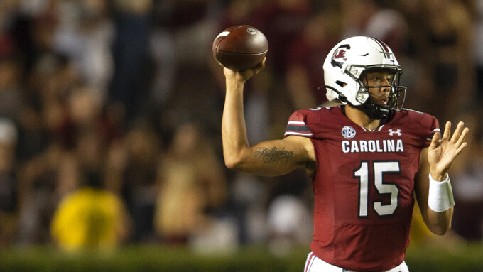 South Carolina quarterback Jason Brown (15) throws during the second half of an NCAA college football game against Eastern Illinois, Saturday, Sept. 4, 2021, in Columbia, S.C.(AP Photo/Hakim Wright Sr)