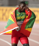 Anderson Peters, of Grenada reacts after winning the gold medal in the men's javelin throw final at the World Athletics Championships in Doha, Qatar, Sunday, Oct. 6, 2019. (AP Photo/Nariman El-Mofty)
