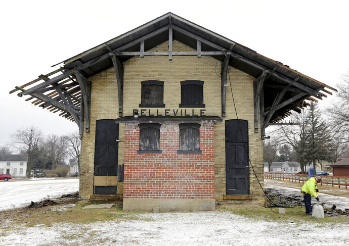 The Belleville railroad depot, constructed in 1888, is showing its age, but by early 2020 could be restored and occupied by a business or businesses designed to serve the region and those that use the adjacent Badger State Trail, in Belleville, Wis., Wednesday, Dec. 12, 2018. (Amber Arnold/Wisconsin State Journal via AP)