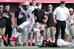 Boston College running back Pat Garwo III (24) evades Massachusetts defensive back Cody Jones (29) during the first half of an NCAA college football game, Saturday, Sept. 11, 2021, in Amherst, Mass. (AP Photo/Michael Dwyer)
