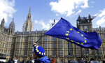 An anti Brexit campaigner shows her support for Europe waving a European Union flag outside Parliament in London, Monday, March 25, 2019.  British Prime Minister Theresa May is under intense pressure Monday to win support for her Brexit deal to split from Europe. (AP Photo/Kirsty Wigglesworth)