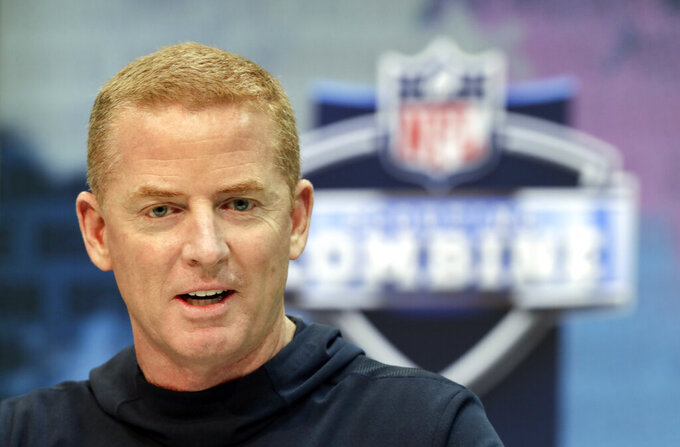 Dallas Cowboys head coach Jason Garrett speaks during a press conference at the NFL football scouting combine in Indianapolis, Wednesday, Feb. 27, 2019. (AP Photo/Michael Conroy)