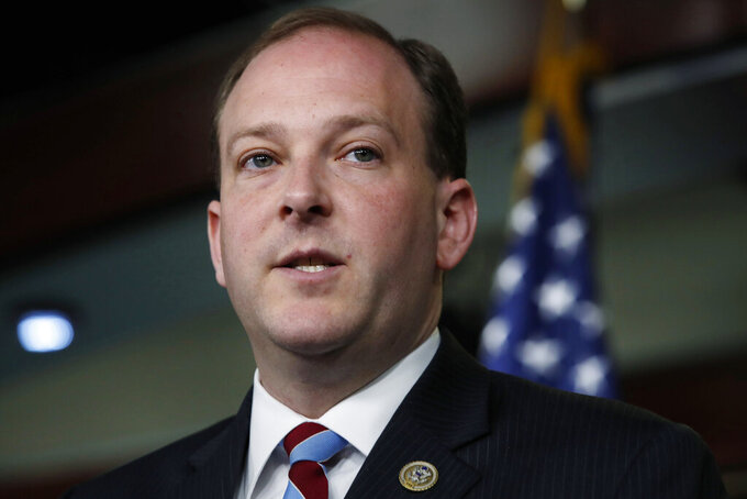 FILE — In this May 22, 2018 file photo, Rep. Lee Zeldin, R-N.Y., speaks during a news conference, on Capitol Hill in Washington. Zeldin announced his candidacy for governor of New York on Thursday, April 8, 2021, with an attack on incumbent Democrat Andrew Cuomo, the subject of investigations over sexual harassment allegations and COVID-19 deaths among nursing home residents. (AP Photo/Jacquelyn Martin, File)
