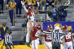 Alabama tight end Jahleel Billingsley (19) reacts after scoring a touchdown during the first half of an NCAA college football game against LSU in Baton Rouge, La., Saturday, Dec. 5, 2020. (AP Photo/Matthew Hinton)