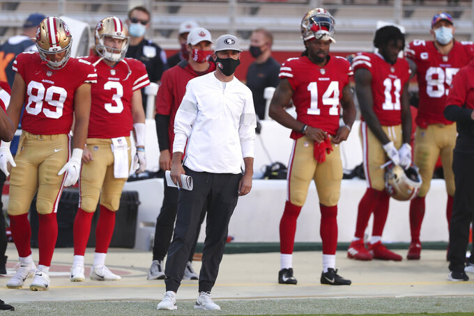 San Francisco 49ers head coach Kyle Shanahan watches from the sideline during the second half of an NFL football game against the Miami Dolphins in Santa Clara, Calif., Sunday, Oct. 11, 2020. (AP Photo/Jed Jacobsohn)