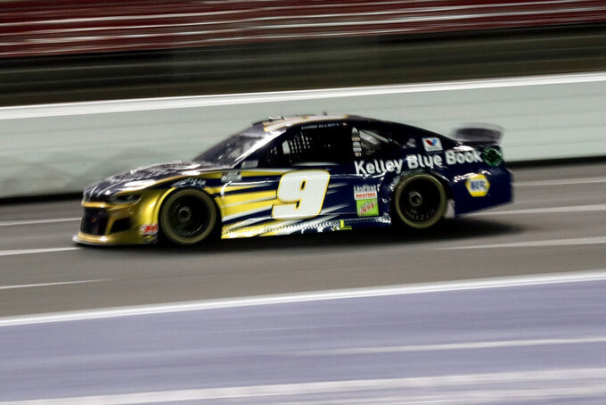 Chase Elliott drives during a NASCAR Cup Series auto race at Charlotte Motor Speedway Thursday, May 28, 2020, in Concord, N.C. (AP Photo/Gerry Broome)