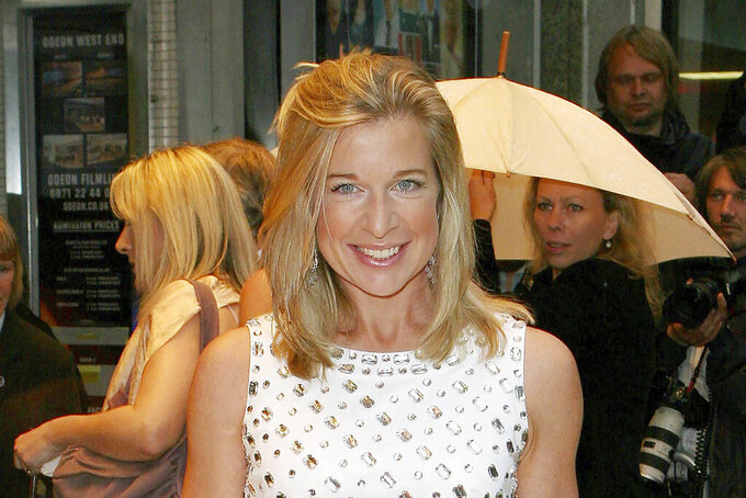 """FILE - In this July 5, 2007, file photo, Katie Hopkins arrives at the film premiere of """"Hairspray"""" in London. Australian officials said Monday, July 19, 2021, the far-right British commentator will be deported after she boasted on social media that she planned to breach quarantine rules. (AP Photo/Nathan Strange, File)"""