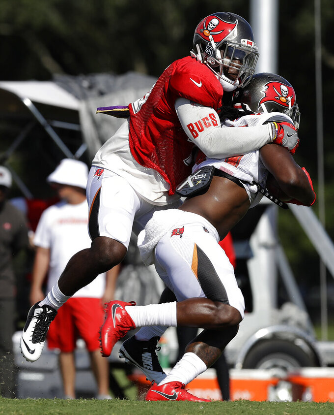 Tampa Bay Buccaneers linebacker Devin White, left, takes down running back Dare Ogunbowale (44) after a reception during an NFL football training camp practice Tuesday, July 30, 2019, in Tampa, Fla. (AP Photo/Chris O'Meara)