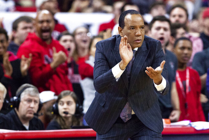 North Carolina State coach Kevin Keatts reacts to a play during the second half of an NCAA college basketball game against Pittsburgh in Raleigh, N.C., Saturday, Jan. 12, 2019. (AP Photo/Ben McKeown)