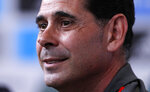 Spain's new coach Fernando Hierro attends a press conference at the 2018 soccer World Cup in Krasnodar, Russia, Wednesday, June 13, 2018. Spanish soccer federation president Luis Rubiales, who made the announcement on Wednesday in Krasnodar, later said Fernando Hierro would replace Lopetegui as coach for Spain's match against Portugal in Sochi on Friday. (AP Photo/Manu Fernandez)