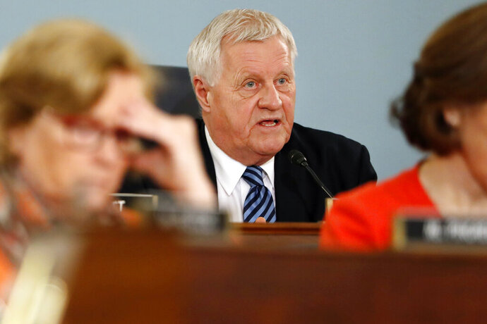 FILE - In this Feb. 27, 2019 file photo, House Agriculture Committee Chairman Rep. Collin Peterson, D-Minn., asks a question on Capitol Hill in Washington. The 2020 election poses a dilemma for conservative Republican voters like Minnesota farmer Jeff Ampe. He likes his incumbent Democratic congressman, Chairman Peterson. He also likes Peterson's leading GOP challenger, former Lt. Gov. Michelle Fischbach. The 75-year-old Peterson says he won't decide until January or February whether he'll seek a 16th term, and Fischbach still must secure the Republican nomination.(AP Photo/Jacquelyn Martin File)