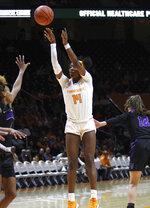 Tennessee's Zaay Green shoots against Central Arkansas during an NCAA college basketball game Thursday, Nov. 7, 2019, in Knoxville, Tenn. (Tom Sherlin/The Daily Times via AP)