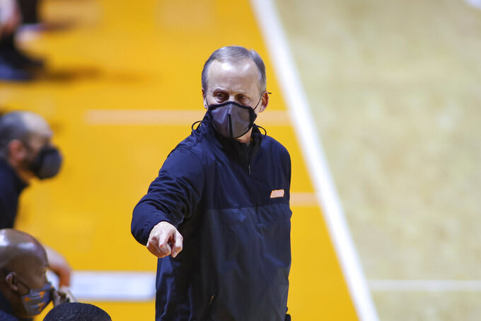 Tennessee coach Rick Barnes points to the bench during the team's NCAA college basketball game against Georgia on Wednesday, Feb. 10, 2021, in Knoxville, Tenn. (Randy Sartin/Pool Photo via AP)