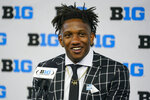 Indiana quarterback Michael Penix Jr. talks to reporters during an NCAA college football news conference at the Big Ten Conference media days, at Lucas Oil Stadium in Indianapolis, Friday, July 23, 2021. (AP Photo/Michael Conroy)