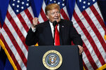 President Donald Trump speaks at the National Association of REALTORS Legislative Meetings and Trade Expo, Friday, May 17, 2019, in Washington. (AP Photo/Susan Walsh)
