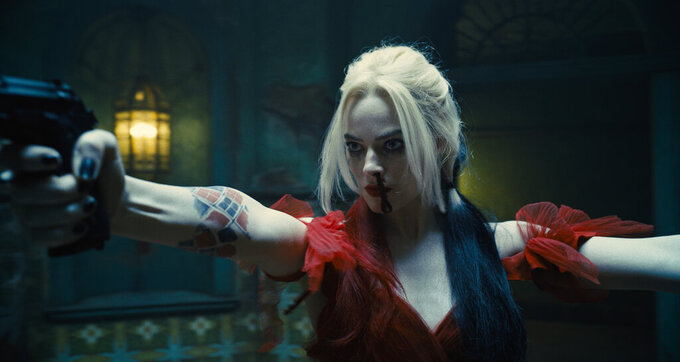 """This image provided by Warner Bros. Pictures shows Margot Robbie in a scene from """"The Suicide Squad."""" (Warner Bros. Pictures via AP)"""