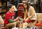This image released by CBS shows Jim Parsons, left, and Mayim Bialik in a scene from the series finale of
