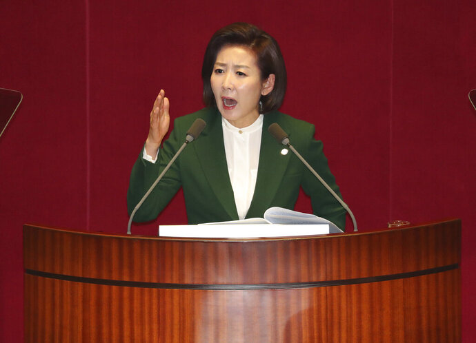 Na Kyung-won, the floor leader of the main opposition Liberty Korea Party, delivers a speech at the National Assembly in Seoul, South Korea, Tuesday, March 12, 2019. The office of South Korean President Moon Jae-in has responded sharply to comments by the conservative lawmaker who accused him of acting as the