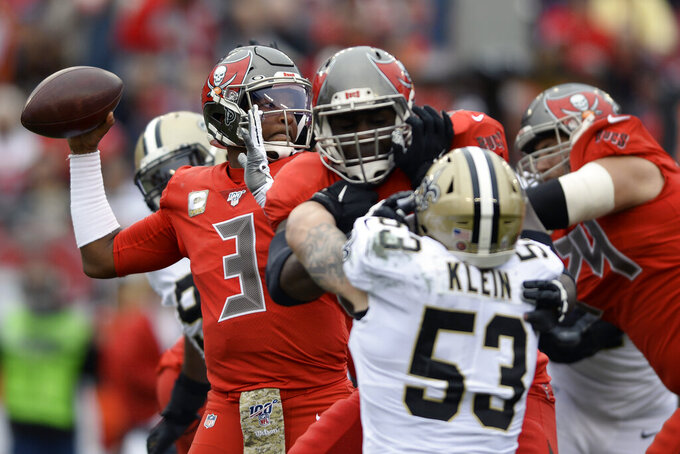 Tampa Bay Buccaneers quarterback Jameis Winston (3) throws a pass against the New Orleans Saints during the first half of an NFL football game Sunday, Nov. 17, 2019, in Tampa, Fla. (AP Photo/Jason Behnken)