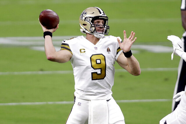 New Orleans Saints quarterback Drew Brees (9) throws a pass against the Las Vegas Raiders during the first half of an NFL football game, Monday, Sept. 21, 2020, in Las Vegas. (AP Photo/Isaac Brekken)
