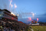 Pregame fireworks explode before the Las Vegas Bowl NCAA college football game between Boise State and Washington at Sam Boyd Stadium, Saturday, Dec. 21, 2019, in Las Vegas. (AP Photo/Steve Marcus)
